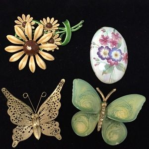 Jewelry - Collection of flower and butterfly brooches u001